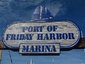 Friday HArbor Marina sign