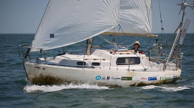 sailboat st brendan at end of solo circumnavigation of the americas